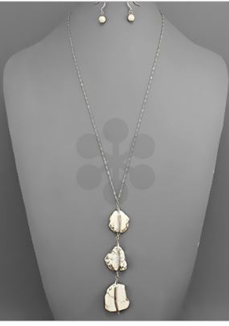 Golden Stella Jewelry NE78674-001 3 Stone Dangle Wired Pendant Necklace Set