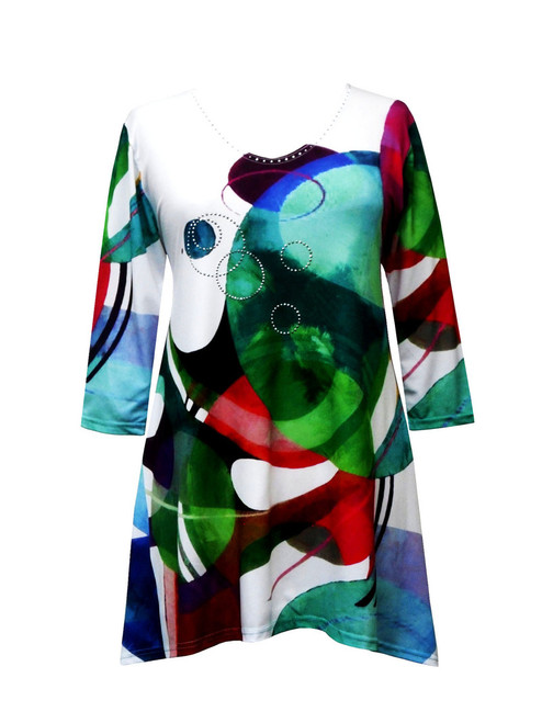 """Modernism"" Abstract Print V-Neck Tunic 19540"