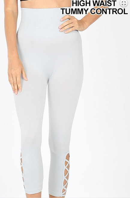 Lattice Capri Leggings 5658