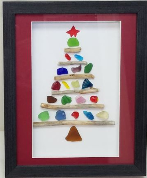 Sea Glass Art by Marj - Christmas Tree with Red Star