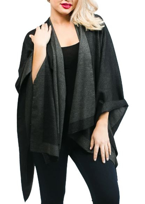 Top it off Reversible Rachel Ruana: Black and Gray