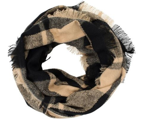 Top it off Camel Plaid Infinity Scarf