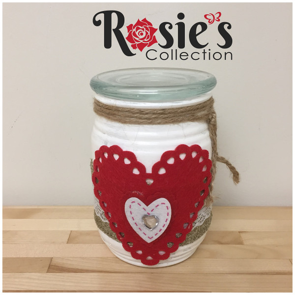 Handmade Artistic Glass Candle with heart with burlap and lace Table Décor
