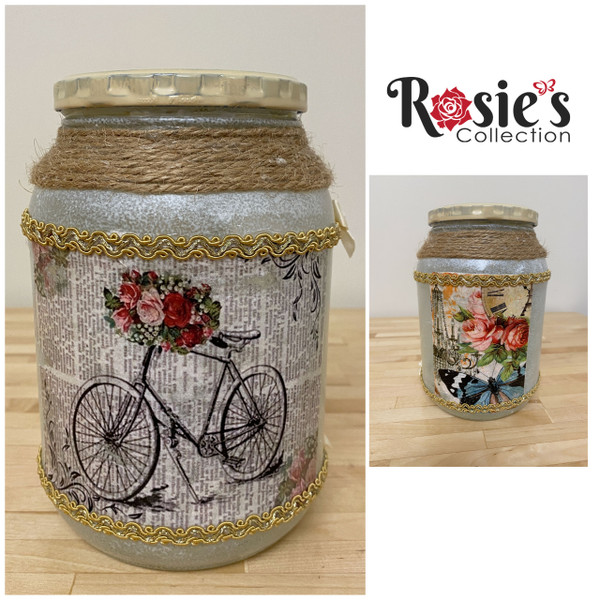Handmade Artistic Glass Candle Bike on one side, roses on the other Table Décor