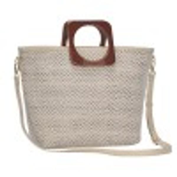 BGT87020(BK) Chevron Woven Square Handled Straw Handbag