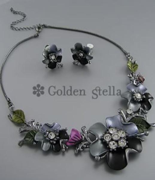 Golden Stella Jewelry NE56820-002 Epoxy & Crystal Flower Link Center Necklace Set