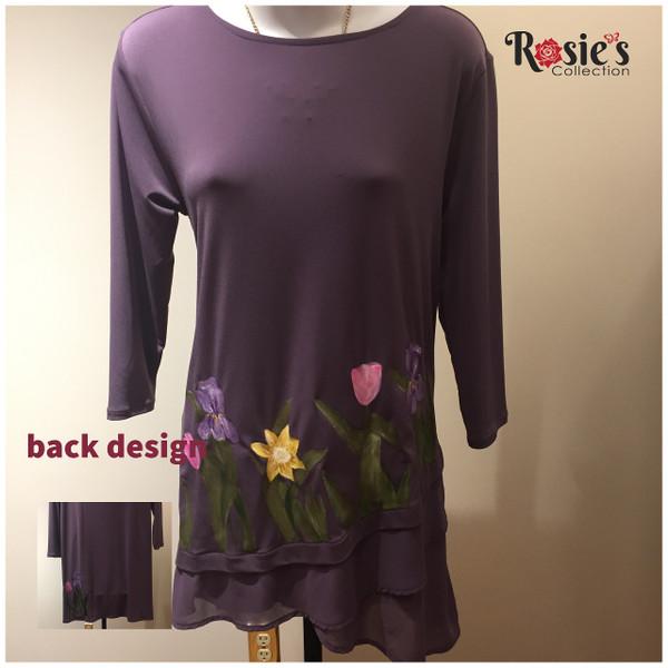 Apparel Designs by Bobbie Cropp - Bobbie Dress with Iris, Tulips and Yellow Flowers - Medium