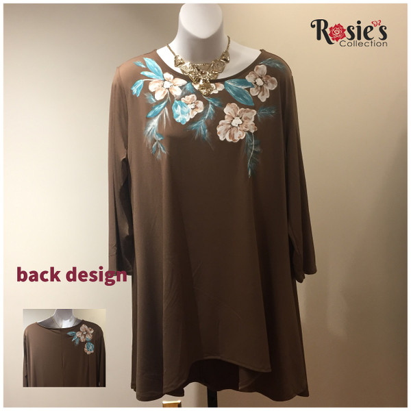 Apparel Designs by Bobbie Cropp - Bobbie Shirt - Brown Shirt with Brown Flowers  and blue leaves - Large