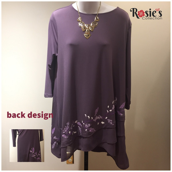 Apparel Designs by Bobbie Cropp - Bobbie Shirt - Chiffon Top with Purple and White flowers on a vine - XL