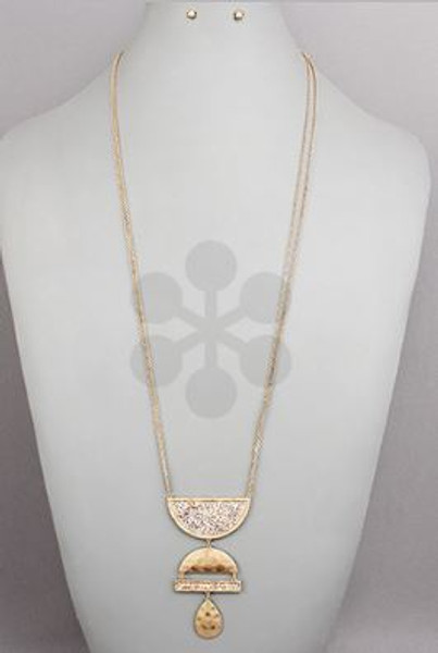 Golden Stella Jewelry NE79136-001 Paved Geometric Necklace
