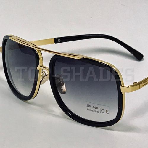 Black and Gold Frame with Smoke Gradient Lenses - Gold Top Bar Gold Nose Pads Designer Men Women Sunglasses  Aviator Square Metal Sunglasses Retro Gold Frame