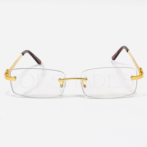 Clear square Rectangular Rimless Gold Metal Frame Hip-Hop Rap Glasses