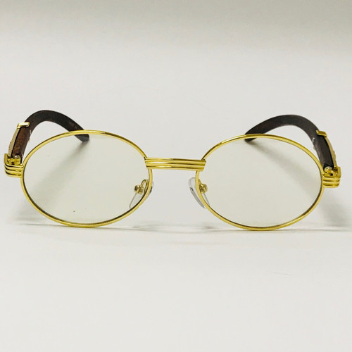 Clear Oval Gold Metal Migos Glasses with wood  wooden temples