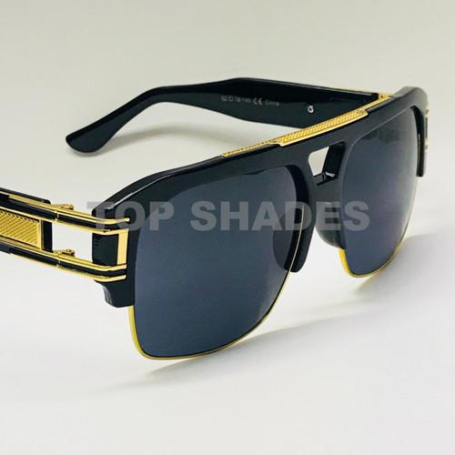 Fashion Design Shades Square Aviator Plastic and Gold Metal Frame Black Gradient Lens Reggaeton Gafas de Sol Lentes Sunglasses