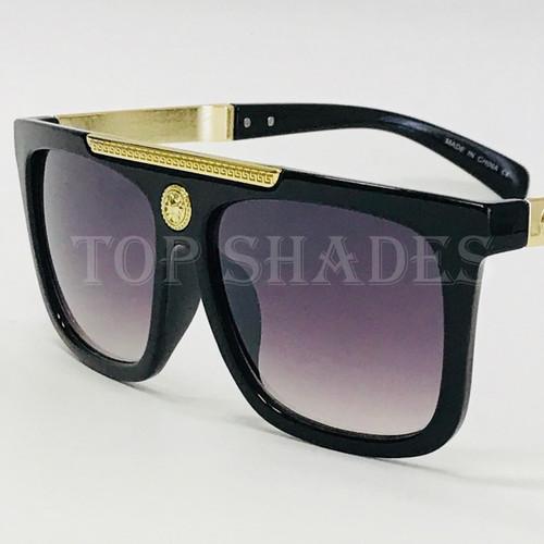 Square Aviator Plastic and Gold Black Metal Frame Miami Style  Reggaeton Brown Black Gradient Lens Men Sunglasses Gafas de Sol Lentes de Moda cuadrado Aviador Para Hombres