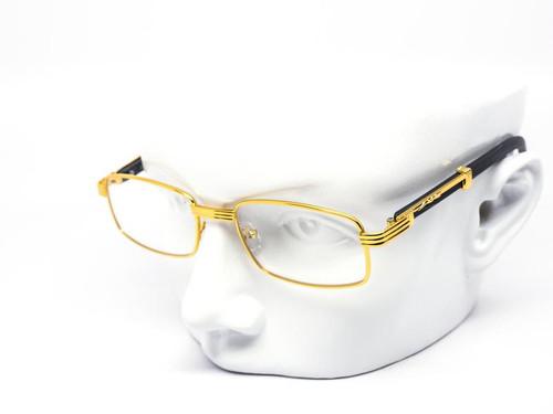 Hip-Hop Wood Temple Square Gold Frame Clear Lens Eye Glasses Mens Women Migos Vintage  Fashion Eye Glasses Designer
