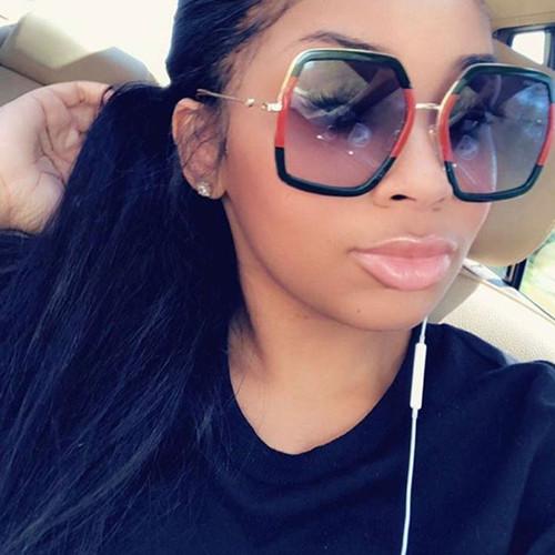 Square Large Plastic and Gold Metal  Green with Red Frame Black Gradient Lens Miami Style Fashion Women Sunglasses Gafas de Sol Lentes de Moda