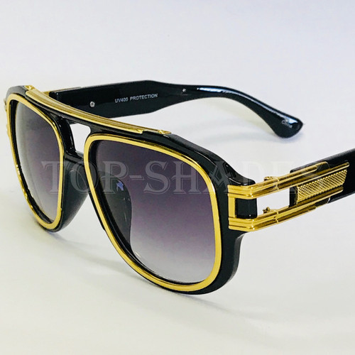 Black  Gold White Tortoise Frame with Smoke Gradient and Oceanic Lenses - Gold Top Bar Black Brown Blue Purple Clear  Lenses