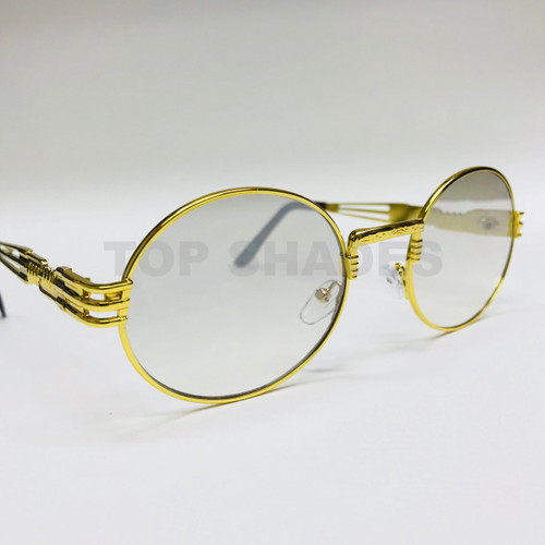 Oval Gold Metal Clear Lens Glasses Migos Hip Hop Rapper Style