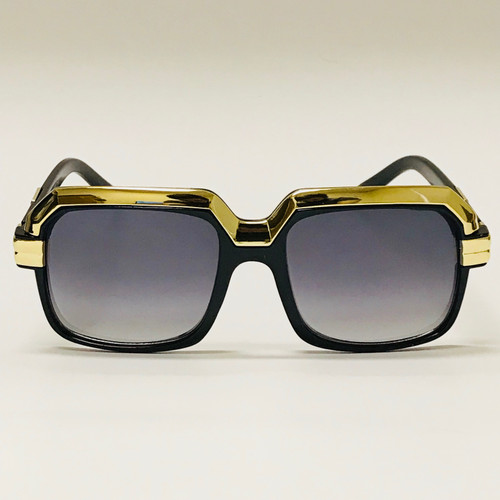 Black square  Gold  Frame with Smoke Gradient Lens Miami Style Shades Celebrity Sunglasses