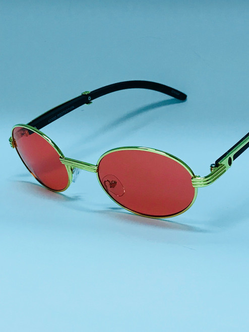Oval Small Metal Frame Wood Arms Sunglasses