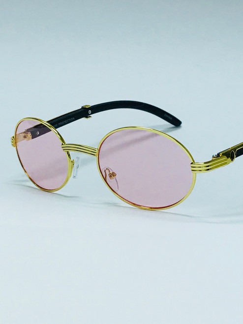 Hip-Hop Rap Migos Style Gold Metal Oval Frame Pink Blue Red Yellow Orange Lens Fashion Men Women Miami Style Sunglasses Gafas de Sol Lentes de Moda