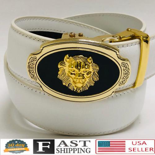 Designer Men Belt Gold Oval Lion Head Metal Buckle Automatic Slide Ratchet Leather Belt