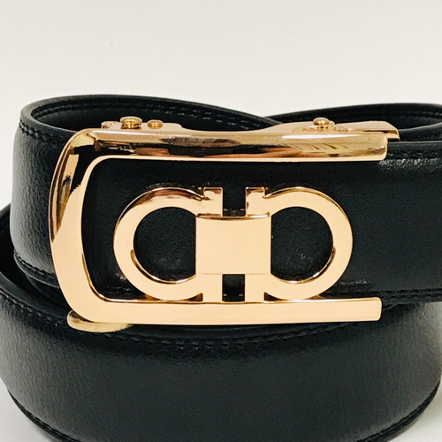 Fashion Designer Style Automatic Gold Metal Color Buckle Ratchet Belt
