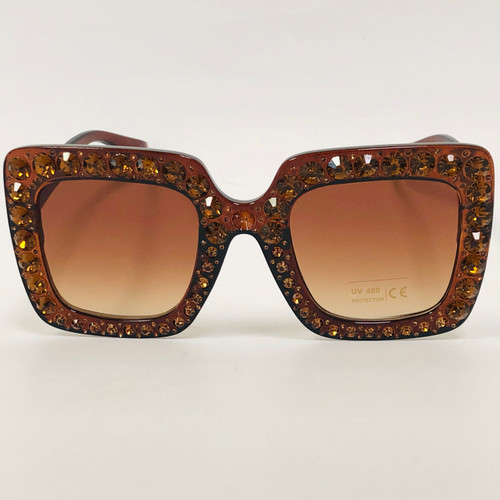 Square Oversize Frame Bling Rhinestone Women Fashion Designer Diamond Sunglasses Gafas Lentes Para Mujeres