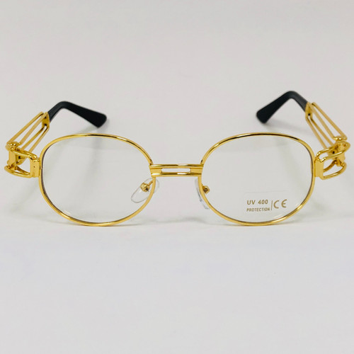 Oval Gold Metal Frame Hip Hop Pink Red Orange Oceanic Lens Migos Sunglasses Gafas Sol Lentes de Moda para Hombres Mujeres Estilo Espejuelo