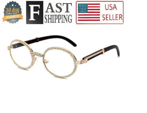 Hip Hop Glasses Shades Wood Temple Oval Shape Metal Gold Frame Diamond Bling