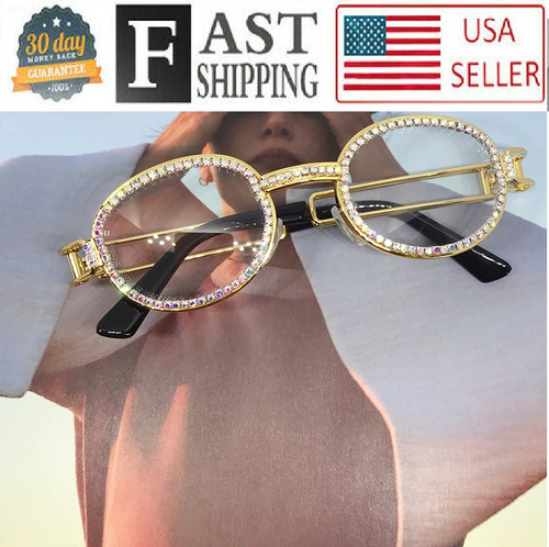 Hip-Hop Buffs Migos Metal Sunglasses Quavo Shades Rhinestones Diamonds Bling Ice Gold Frame Brown Oval Glasses