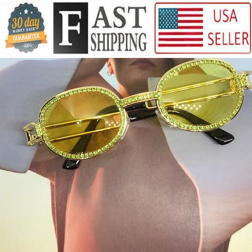 Hip-Hop Buffs Migos Metal Sunglasses Quavo Shades Rhinestones Diamonds Bling Ice Gold Frame Brown Oval Glasses