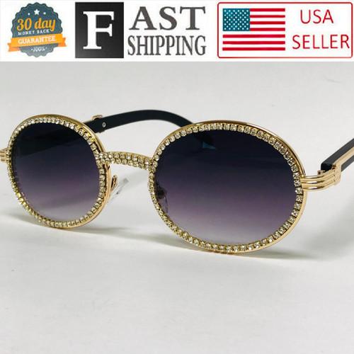 Wood Temple Oval Shape Metal Gold Frame Diamond Bling Rhinestones Ice Sunglasses