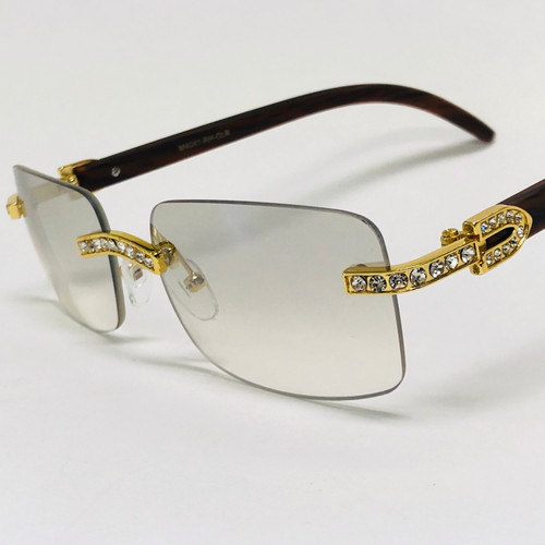 Rimless Square Diamond Clear Glasses Sunglasses Classic Fashion Hip Hop Rap Migos Style