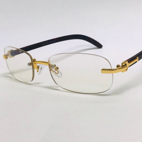 Rimless Small Men Sunglasses Clear Lens Hip Hop Style Square Shades Classic