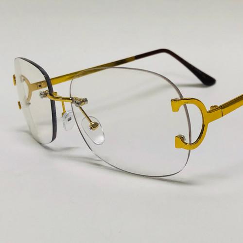 Rimless Men Sunglasses Diamond Cut Lens Hip Hop Rapper Migos Gold Frame Style Square Shades Classic Gafas Lentes