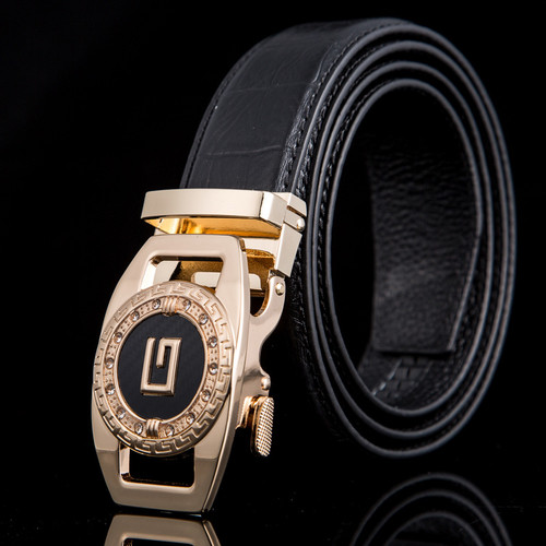 Men's Designer Leather Gold Diamond Sliding Ratchet G Buckle Belt Click Locked