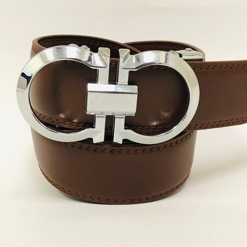 Silver Metal Buckle Automatic Slide Ratchet Click Locked Leather Belt Fashion Men Women Belt