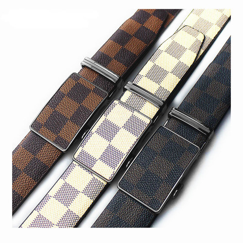 Fashion Men Women Belt Metal Buckle Automatic Slide Ratchet Click Locked Leather Belt 3.5cm White Brown Black Color Strep