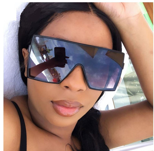 Women Men Sunglasses Designer Oversized Square Large Flat Top Single Big Fashion