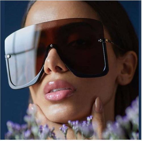 Women Designer Sunglasses Luxury Half Rim Single Lens Square Gold Big XL Shades