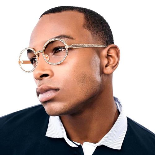 Men's Sunglasses Hip Hop Quavo Migos DIAMOND Oval Gold Frame Clear Lens New 2020
