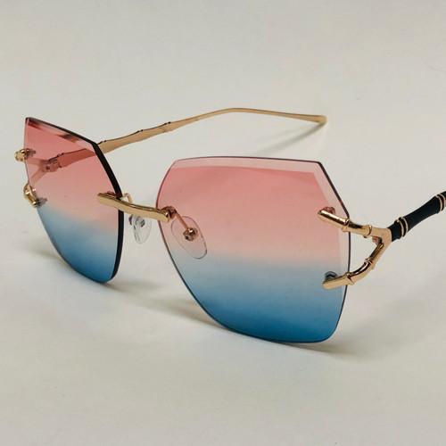 Women's Sunglasses Designer Diamond Cut Lens Oversized Fancy Elegant Celebrity Rimless NEW
