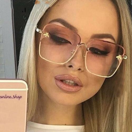 Women's Sunglasses Bee Style New Fashion Moth bug Square Metal Oversize Designer