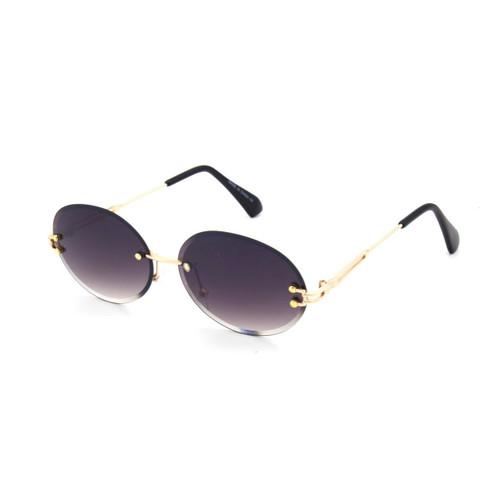Men's Rimless Gold Frame Sunglasses Old School Vintage Round Diamond Cut Clear Lens  Hip Hop Migos
