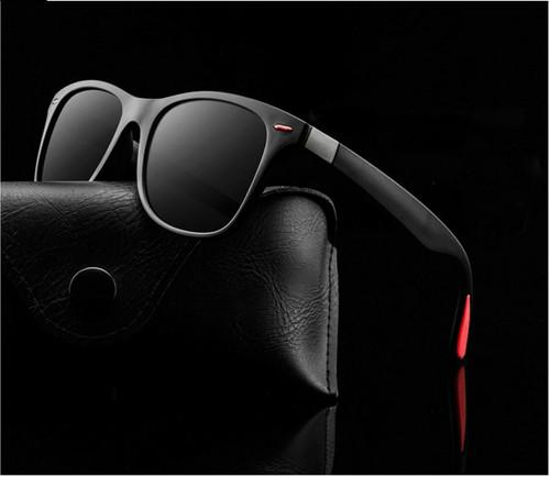 Fashion Men Polarized Sunglasses Square Frame Driving Outdoor Black Blue Lenses