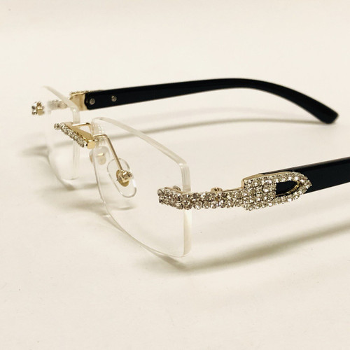 Men's Sunglasses Hip Hop Quavo Migos DIAMOND Rimless Square Frame Clear Lens New