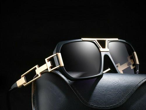 Men  Designer Style Sunglasses Square Gold Frame Black Gradient Lens Retro Vintage Metal Bar