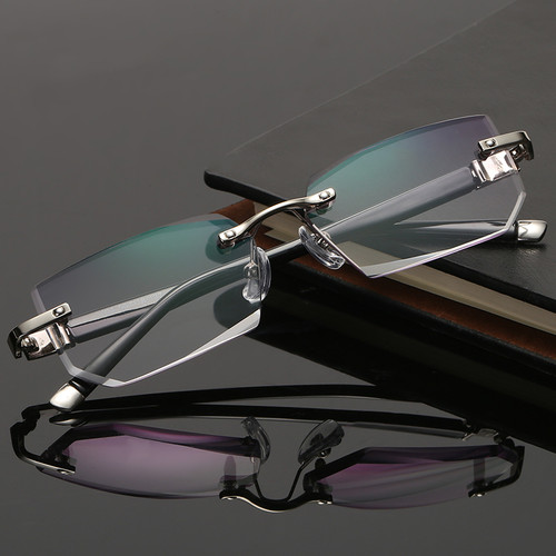 Mens Eye Glasses Clear Lens Rimless Small Reflective Square Silver Frame Fashion Diamond Cut Anti Blue Light Blocking
